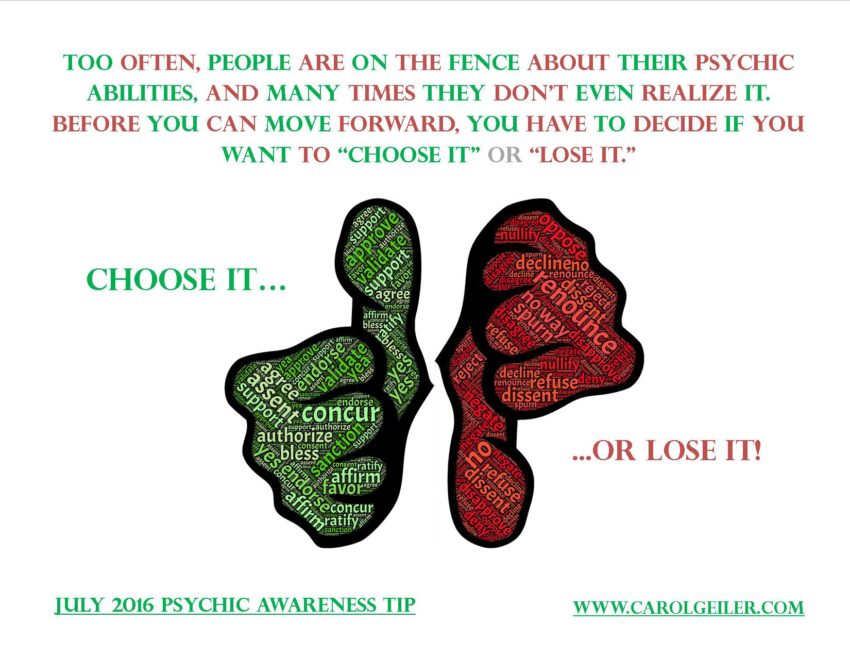 "Psychic Ability – ""Choose It"" or ""Lose It!"""